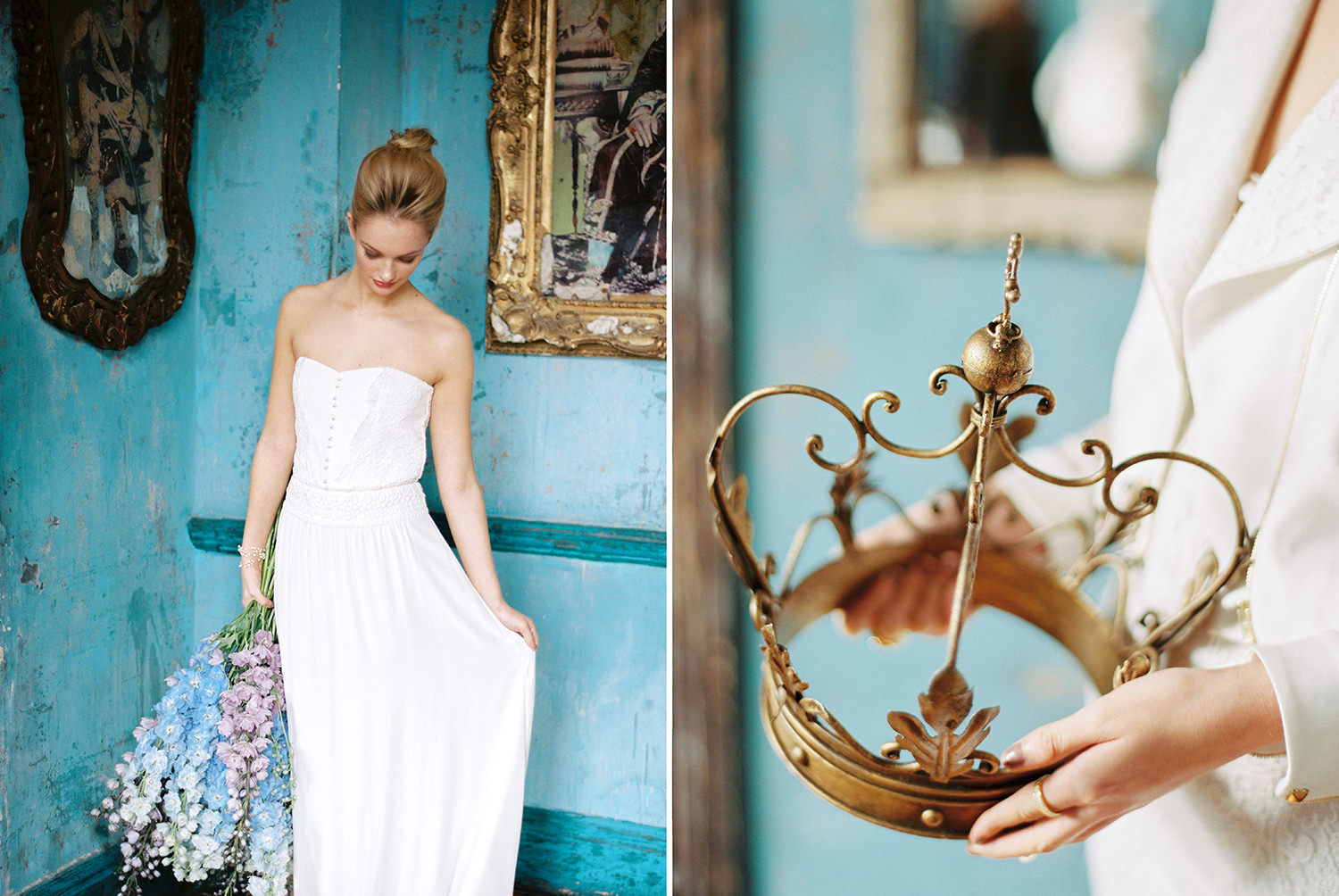 Something blue, oversized bouquet, wedding dress, crown