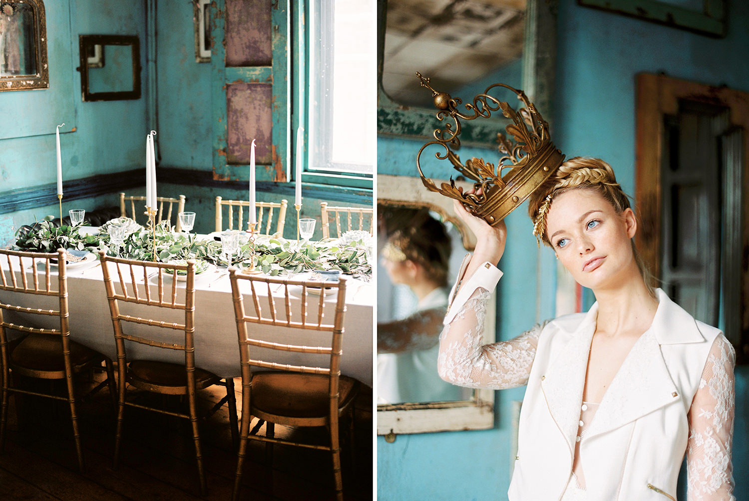 Bride with crown, tablescape with cascading greenery