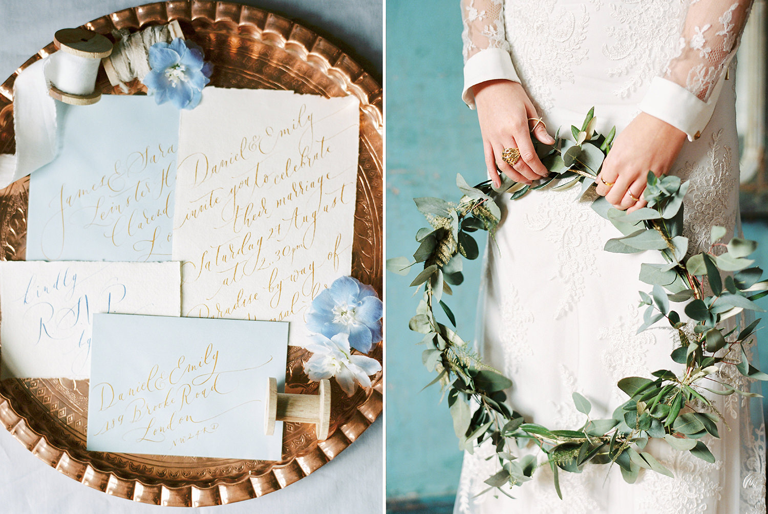 wedding stationery, greenery hoop