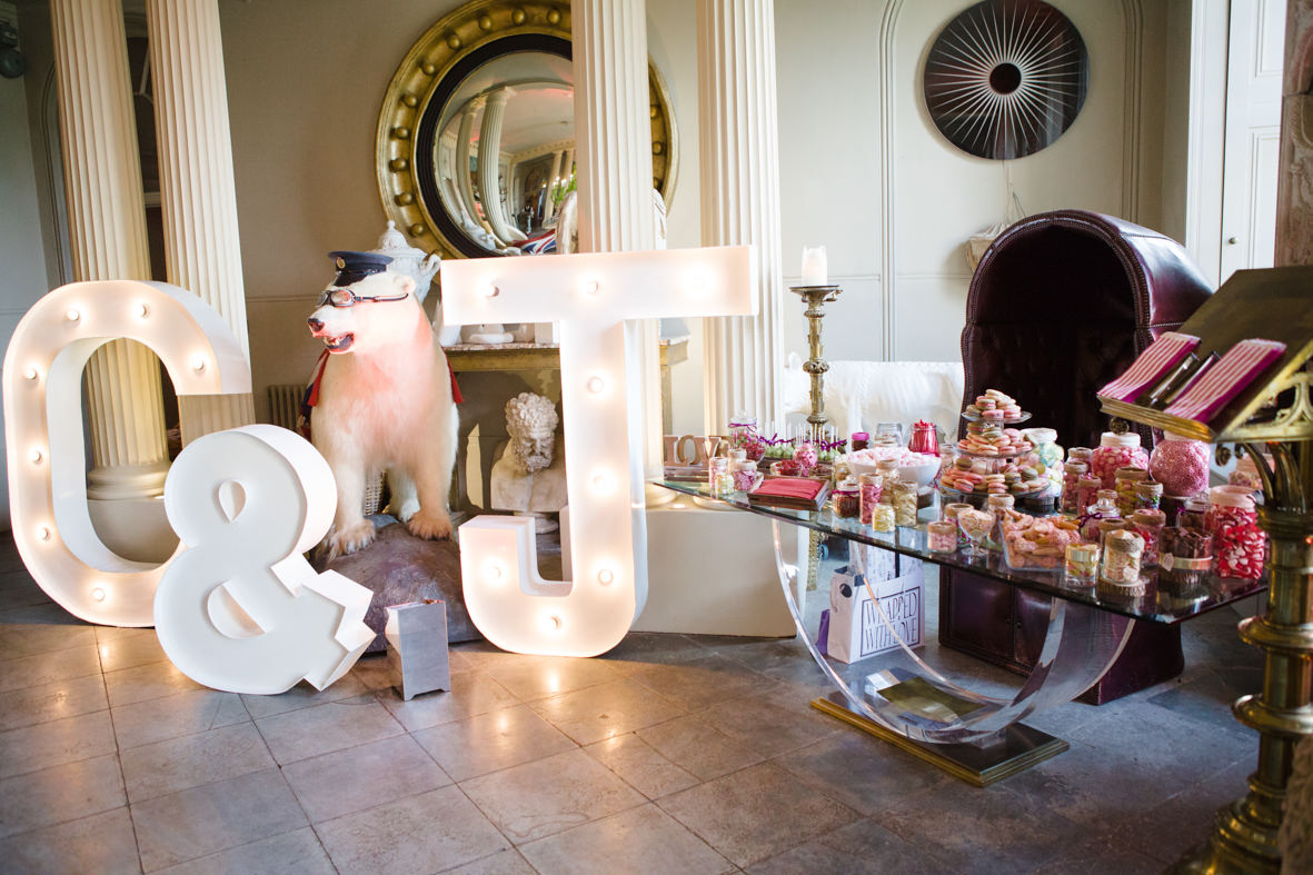 Colourful wedding, Aynhoe Park, Brides magazine, Lucy Davenport Photography, dessert table.