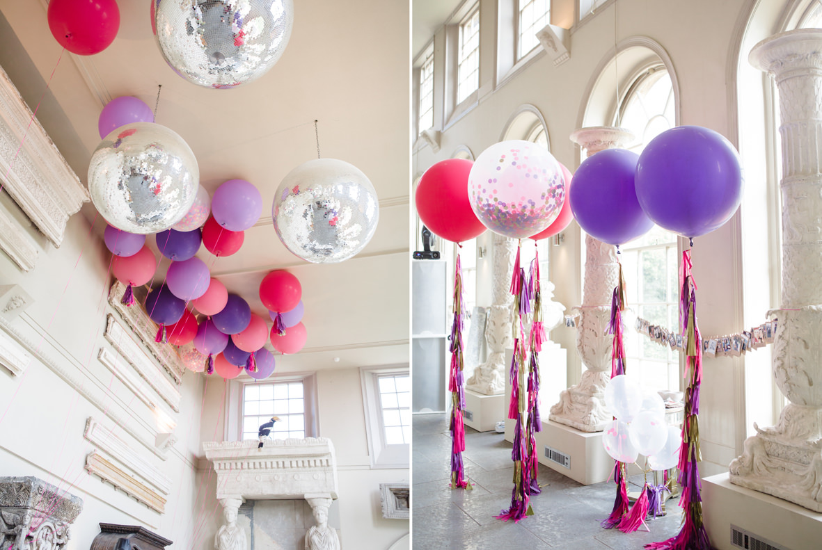 colourful Aynhoe Park wedding, Colourful wedding, Aynhoe Park, Brides magazine, Lucy Davenport Photography, balloons, orangery, bubblegum balloons.