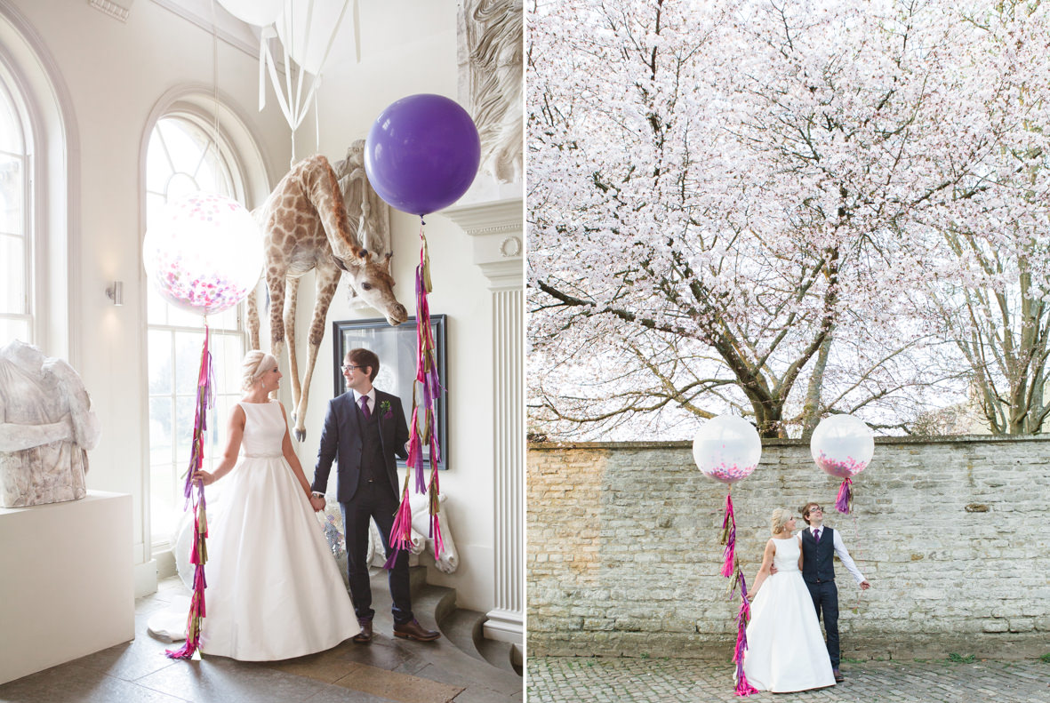 colourful Aynhoe Park wedding, Colourful wedding, Aynhoe Park, Brides magazine, Lucy Davenport Photography, bride and groom, balloons, blossom.