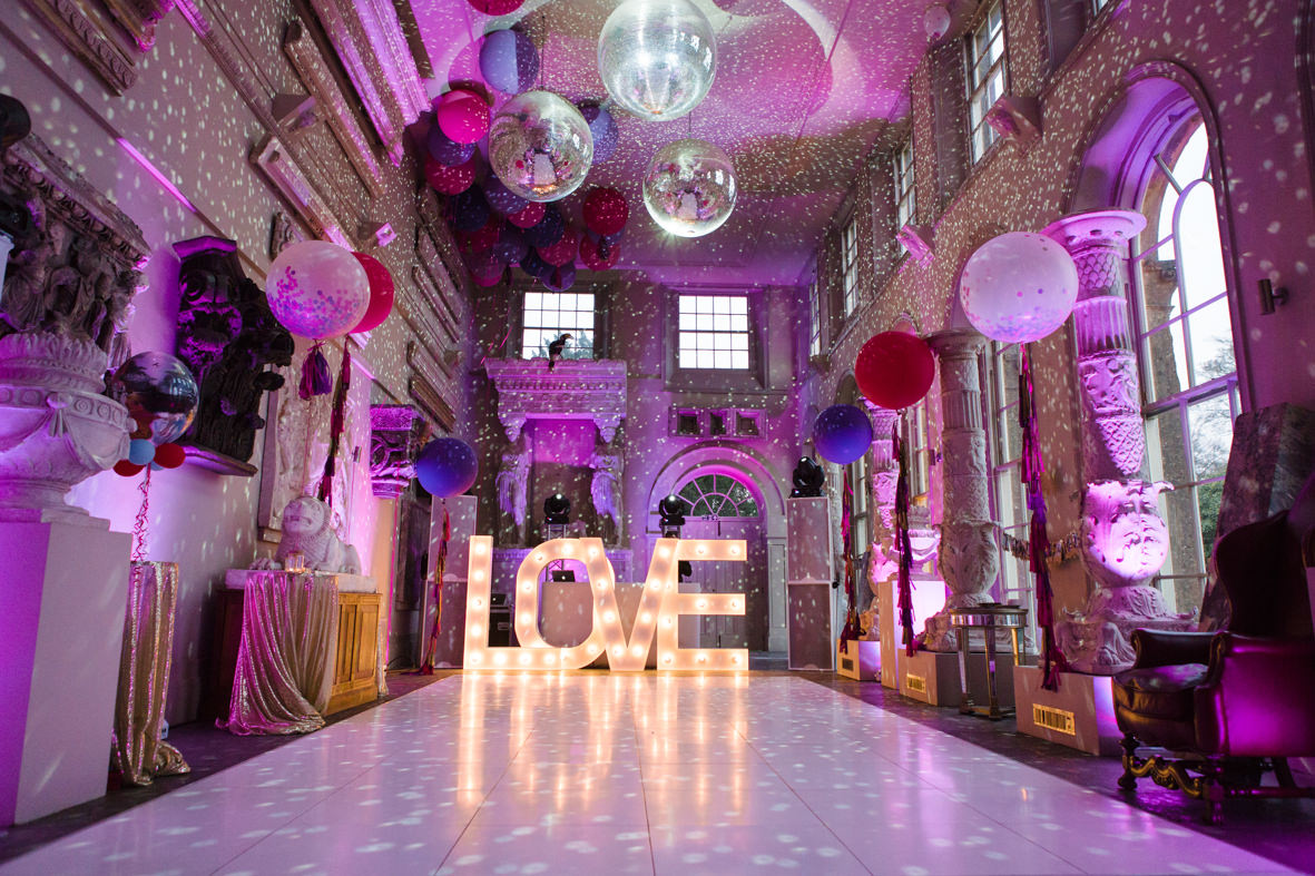 Colourful wedding, Aynhoe Park, Brides magazine, Lucy Davenport Photography, love, letters, orangey, balloons.