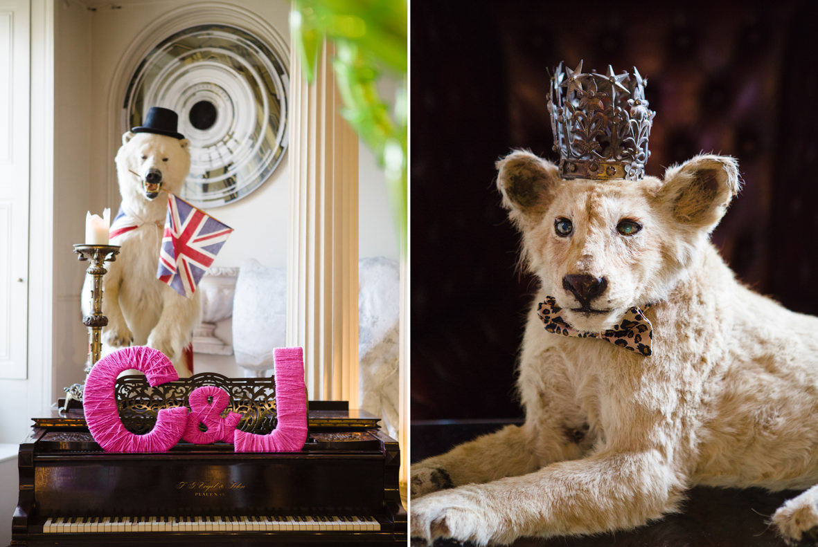Colourful wedding, Aynhoe Park, Brides magazine, Lucy Davenport Photography, taxidermy.