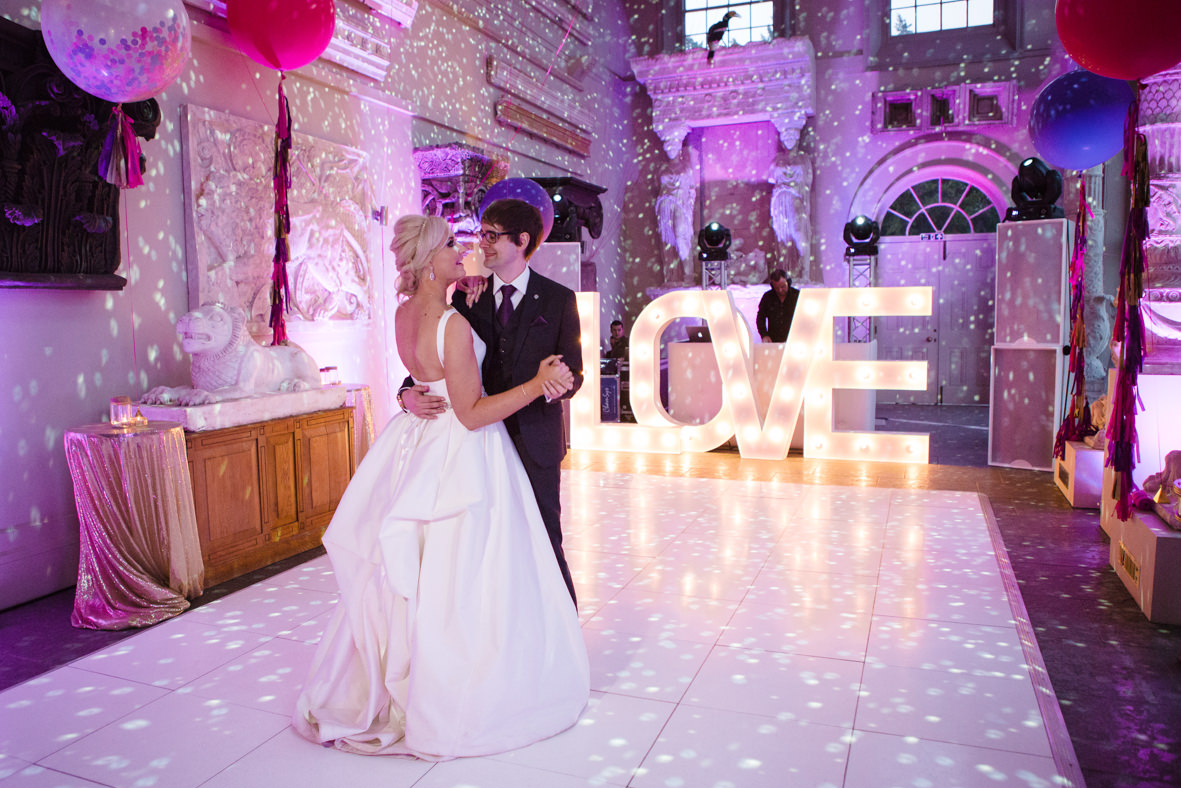 Colourful wedding, Aynhoe Park, Brides magazine, Lucy Davenport Photography, bride and groom, first dance.