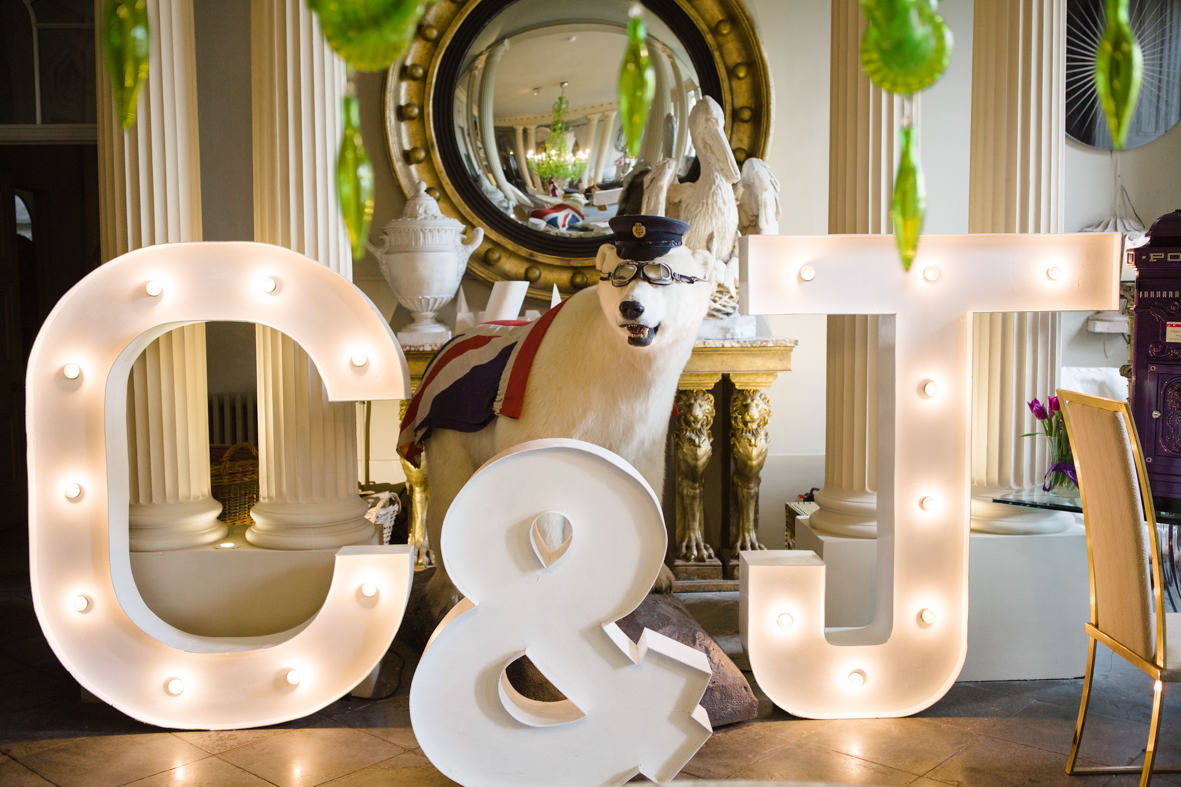 Colourful wedding, Aynhoe Park, Brides magazine, Lucy Davenport Photography, Vowed & Amazed, light up letters.
