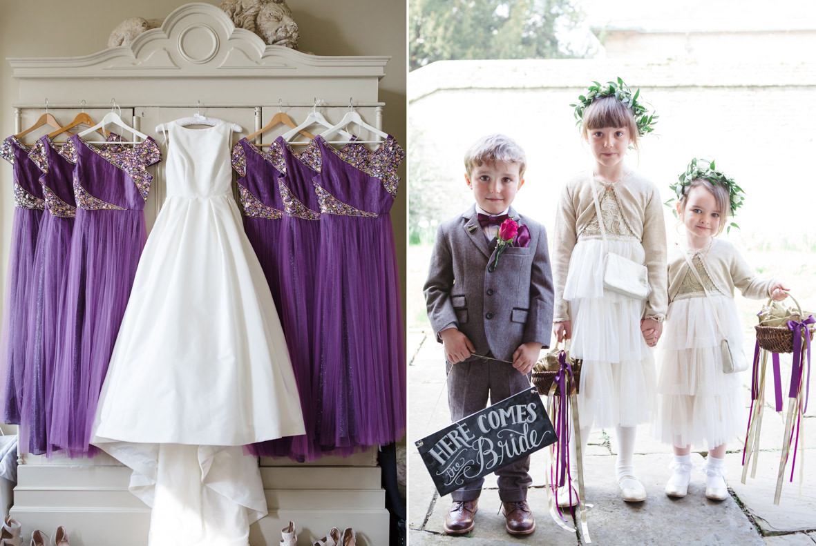 Colourful wedding, Aynhoe Park, Brides magazine, Lucy Davenport Photography, bridesmaid dresses, flower girls and page boy.