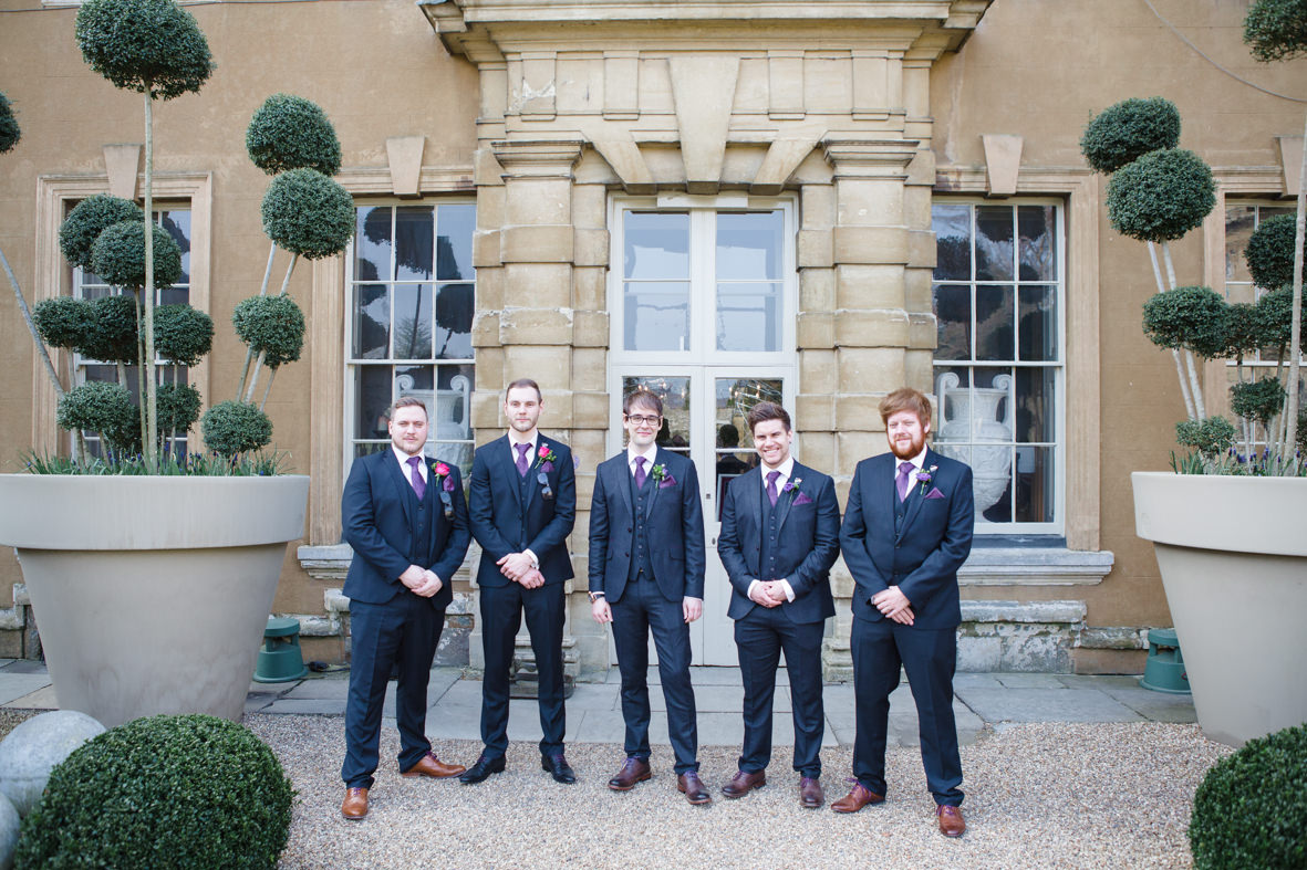Colourful wedding, Aynhoe Park, Brides magazine, Lucy Davenport Photography, groomsmen.