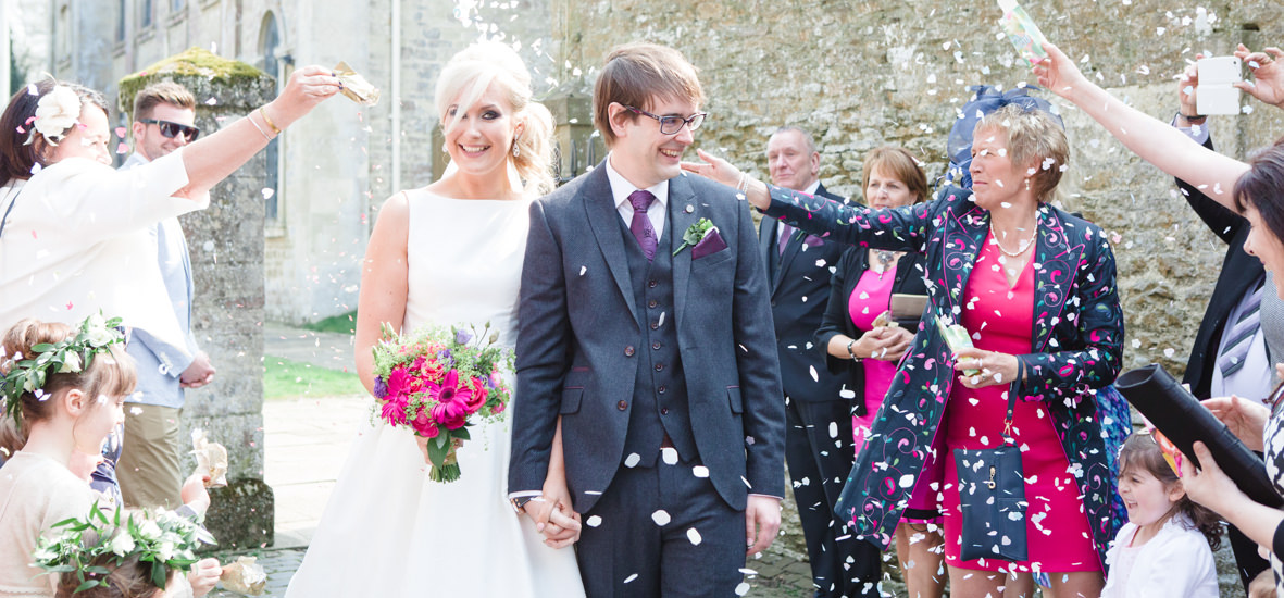 Colourful wedding, Aynhoe Park, Brides magazine, Lucy Davenport Photography, confetti.