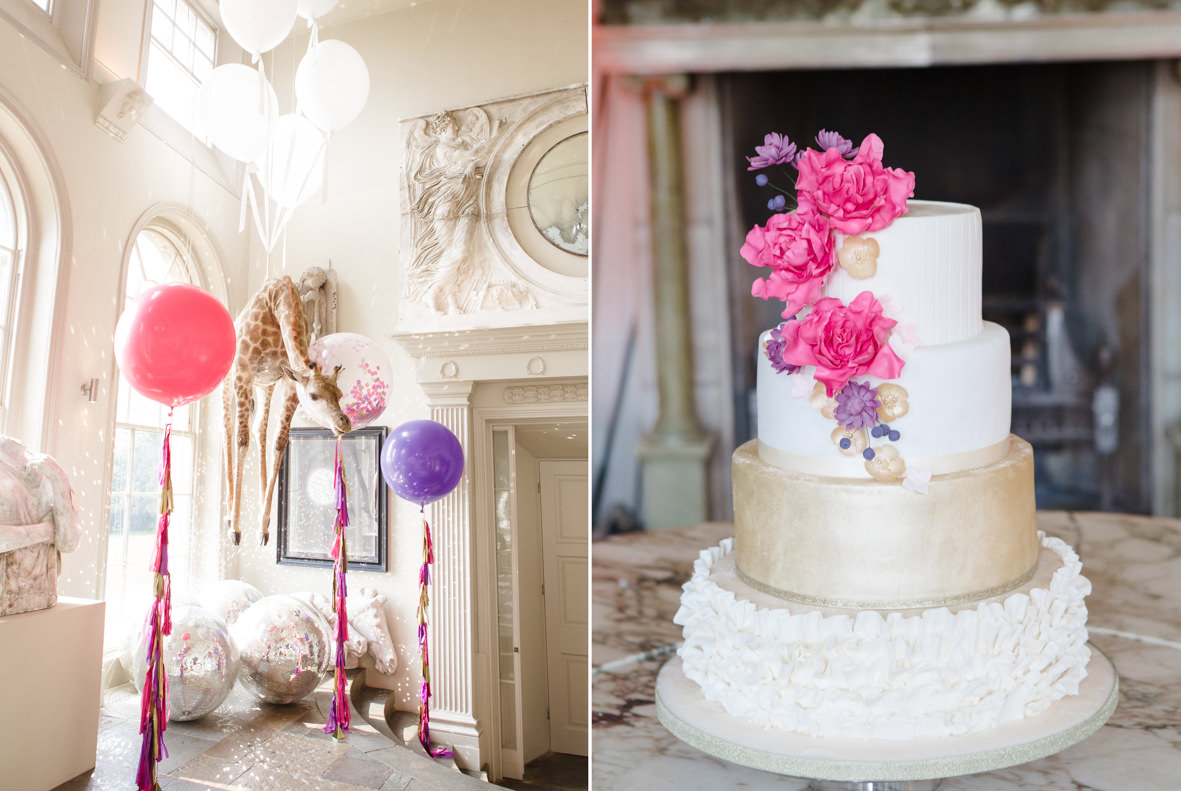 colourful Aynhoe Park wedding, Colourful wedding, Aynhoe Park, Brides magazine, Lucy Davenport Photography, bubblegum balloons, wedding cake.