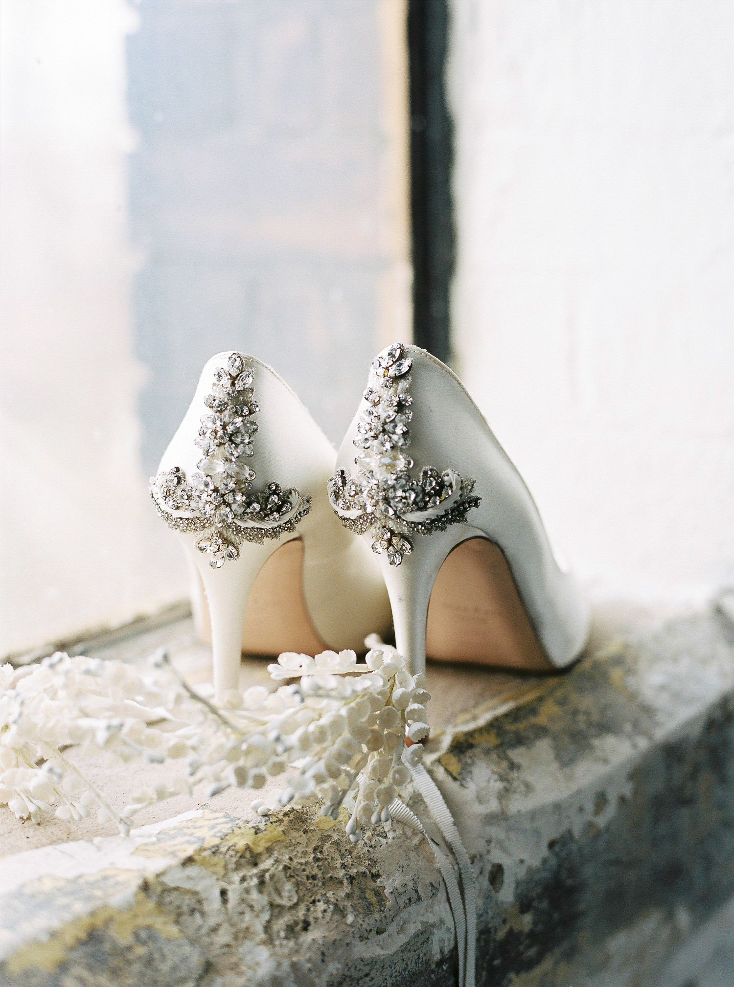 Freya Rose wedding shoes, Luna Bea headpiece