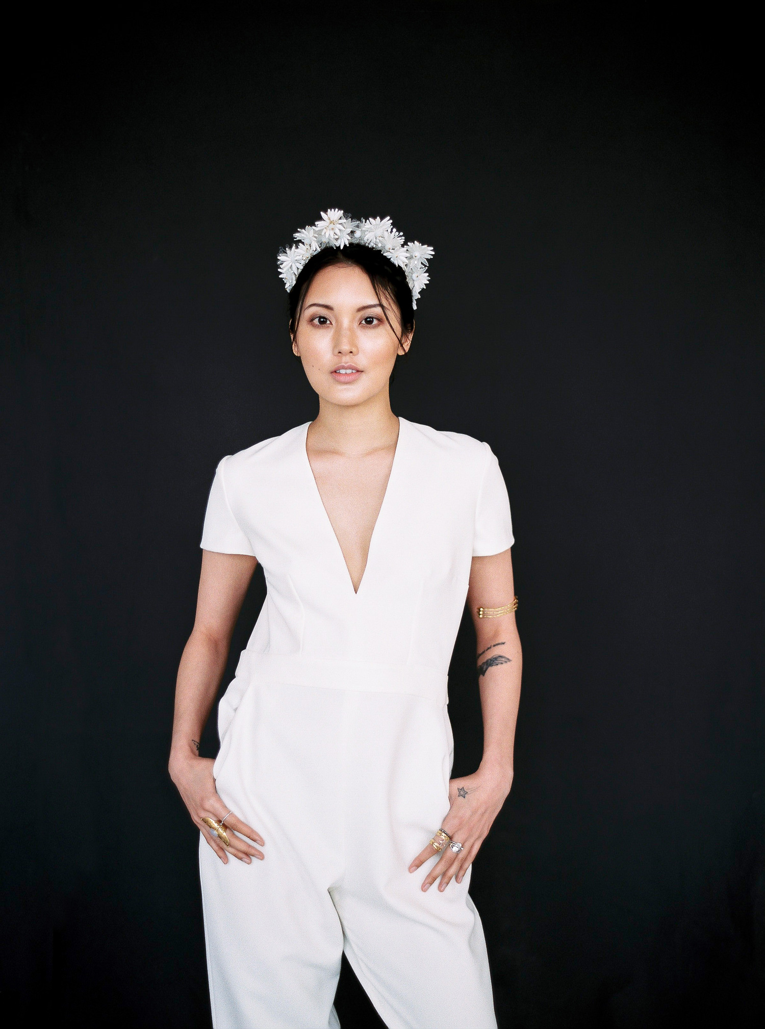bridal jumpsuit, Luna Bea headpiece