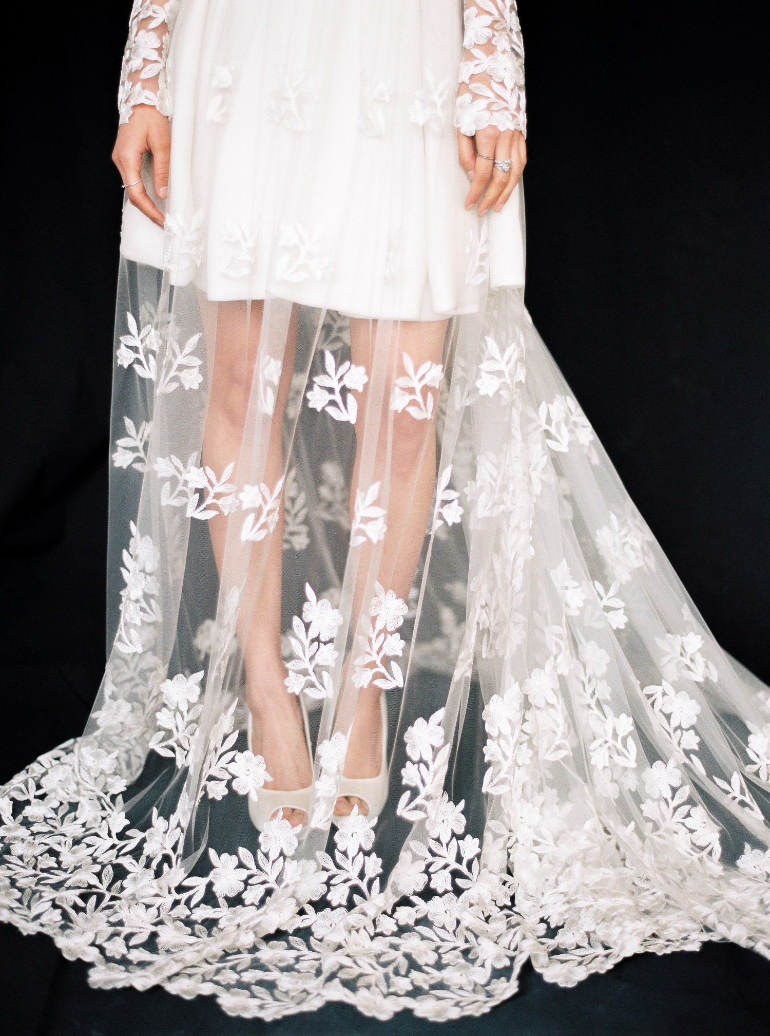 Layered lace wedding dress