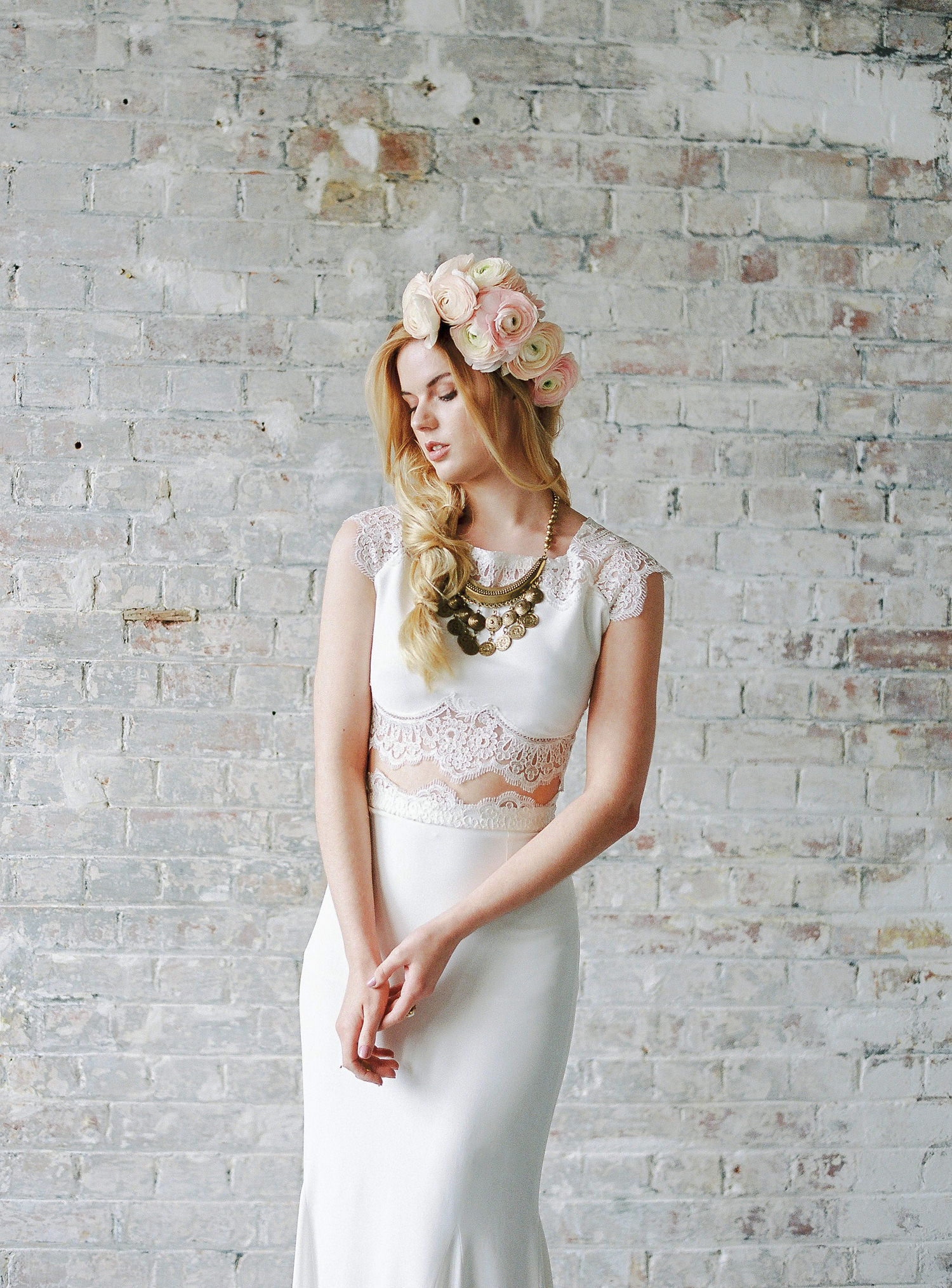 Rime Arodaky wedding dress, floral crown