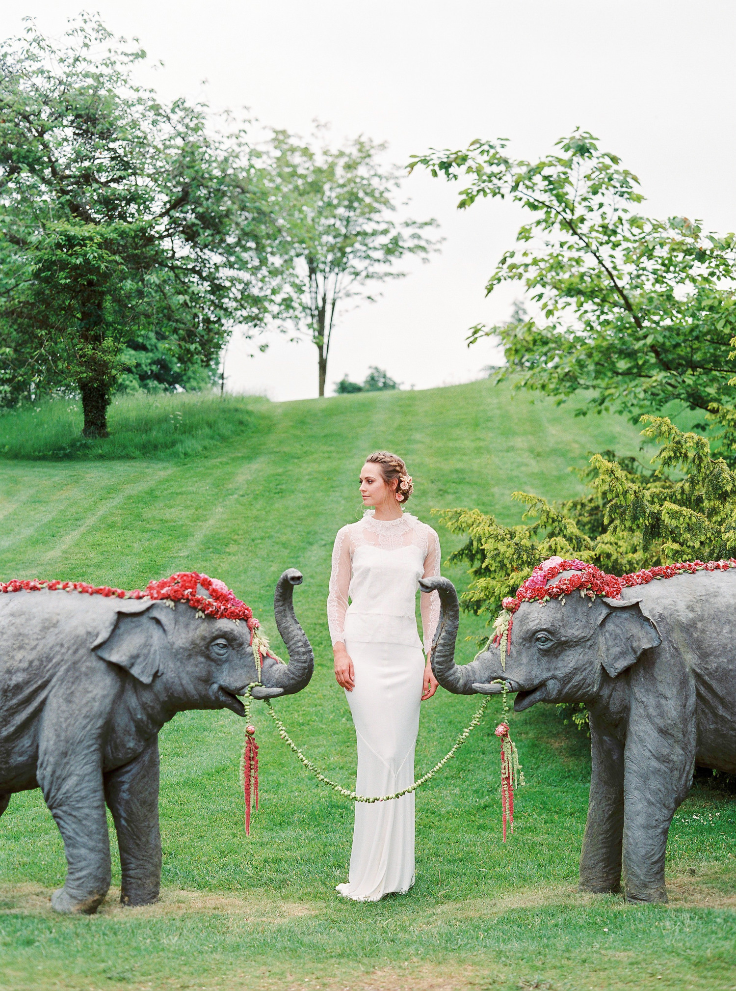 Sophia Kokosalaki, lace wedding dress, floral elephants, Sezincote House