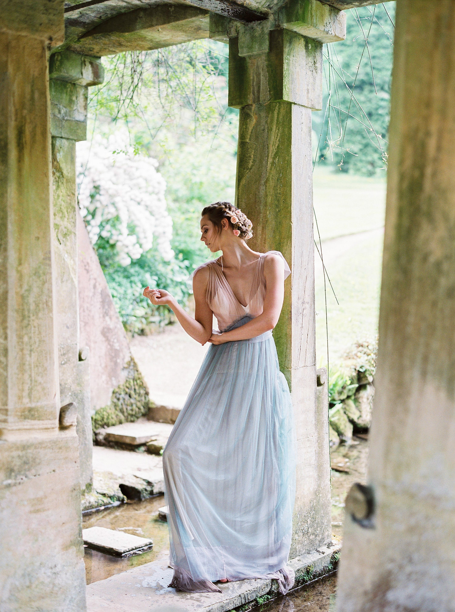 Sophia Kokosalaki, Sezincote House & Gardens, coloured wedding dress