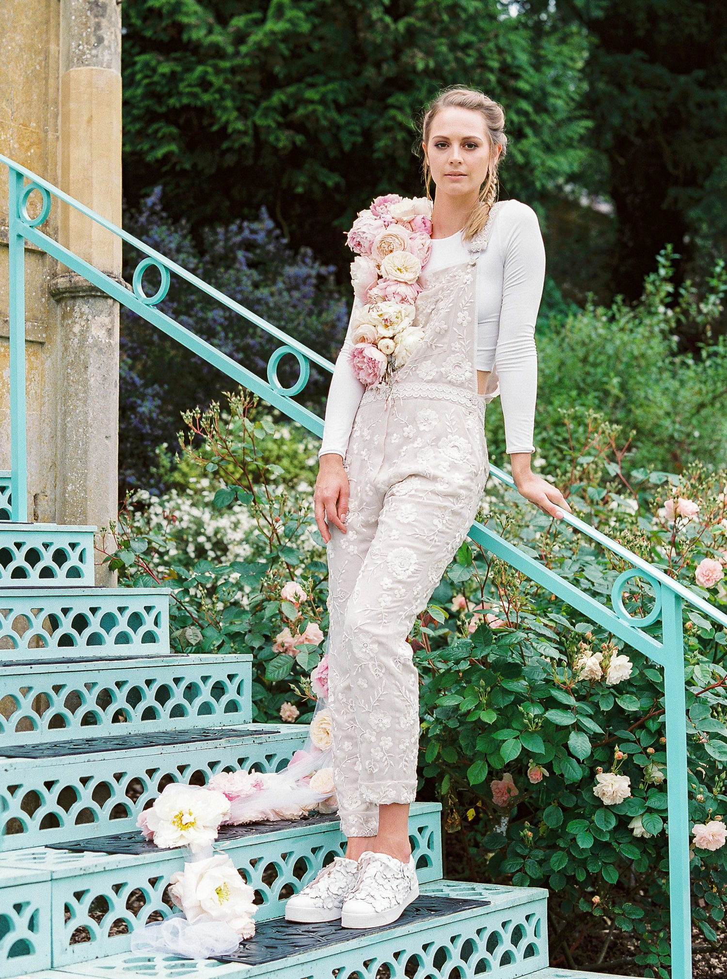 Lucy Davenport Photography, Sezincote House & Gardens, wedding venue, Needle & Thread, jumpsuit, LA Bespoke, wedding dress, Suzanne Harward, Sezincote inspiration, bridal dungarees from Needle & Thread. Floral garland.