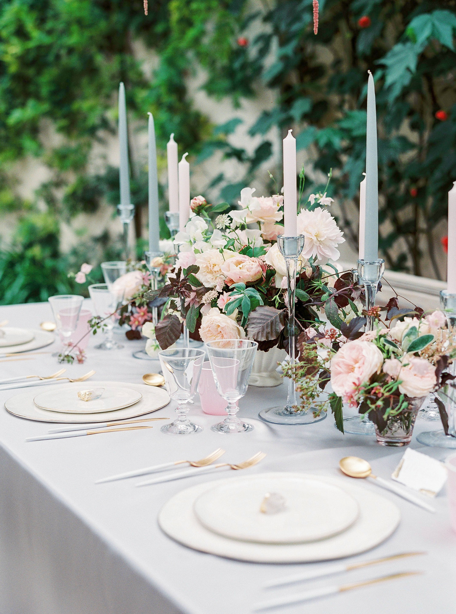 Lucy Davenport Photography, Sezincote House & Gardens, wedding venue, Cotswolds, Sezincote wedding, bench at tablescape, orangery, crockery and stationery.