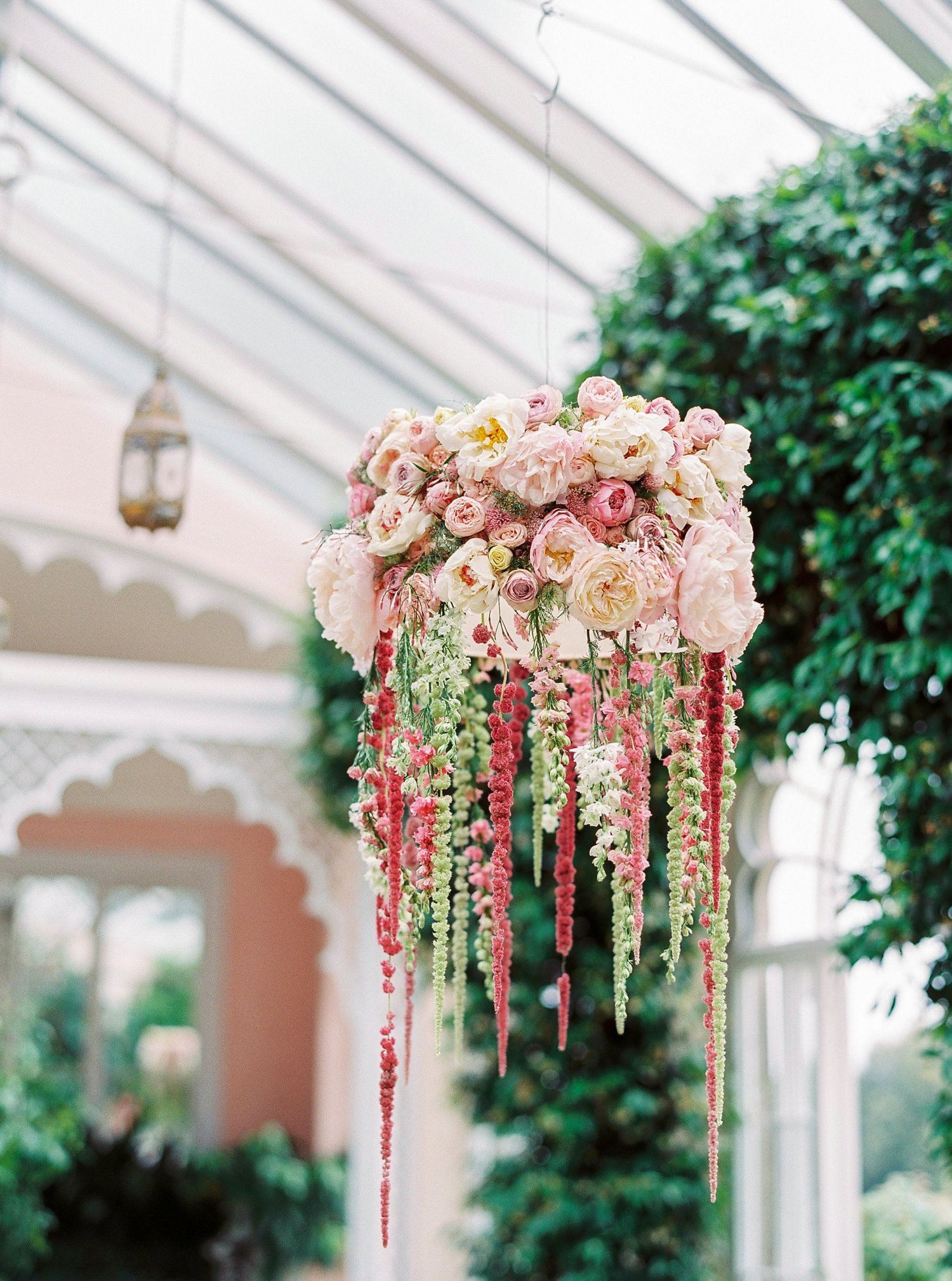 Fiona Perry, floral chandelier, Sezincote Orangery
