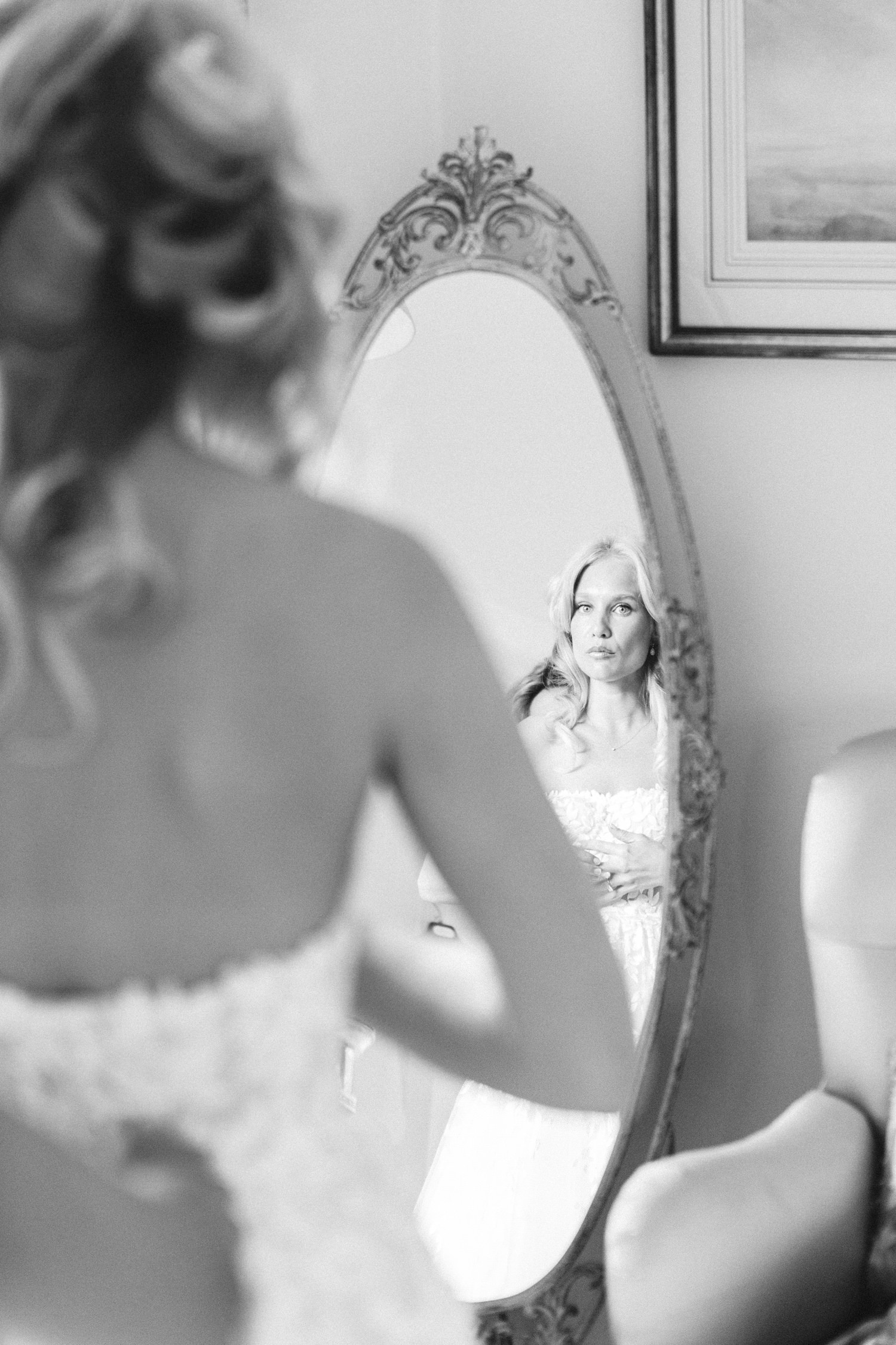 Bride getting ready at Tor Hatch, Mira Zwillinger, wedding dress, gianvito rossi shoes, Lucy Davenport Photography