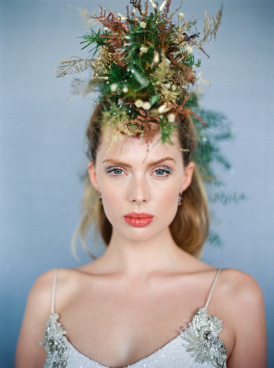 Glitter editorial, floral mohawk