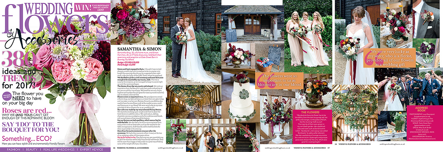 Wedding flowers magazine, autumn wedding, Gate Street Barn. Lucy Davenport Photography
