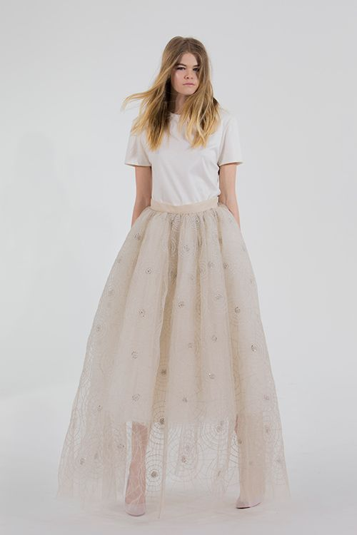 Bridal separates, bridal two piece, tulle, Houghton NYC.