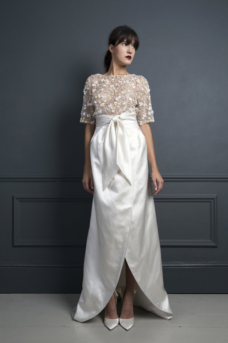 bridal separates, bridal two piece, layers, tulle, satin, bow, corset, Halfpenny London