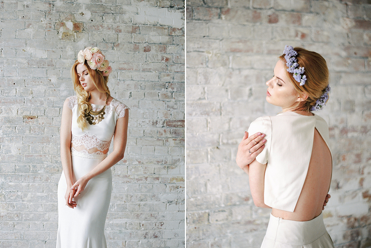 Lucy Davenport Photography, bridal separates, bridal two piece, Rime Arodaky, lace 2 piece, Elizabeth Stuart, Moonflower.