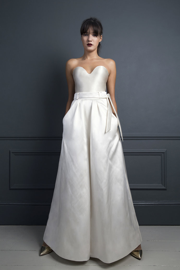 bridal separates, bridal two piece, satin, bridal trousers, embellished top, bow, skirt, corset, halfpenny London.