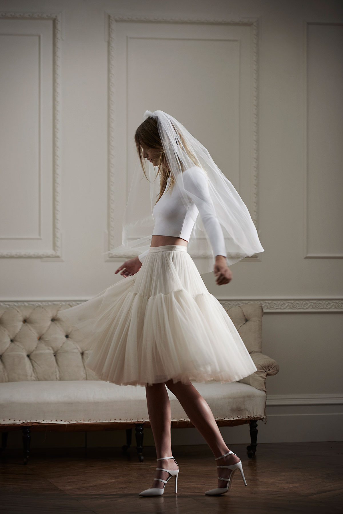 Needle & Thread, Bridal separates, bridal two piece, embellished, tulle.