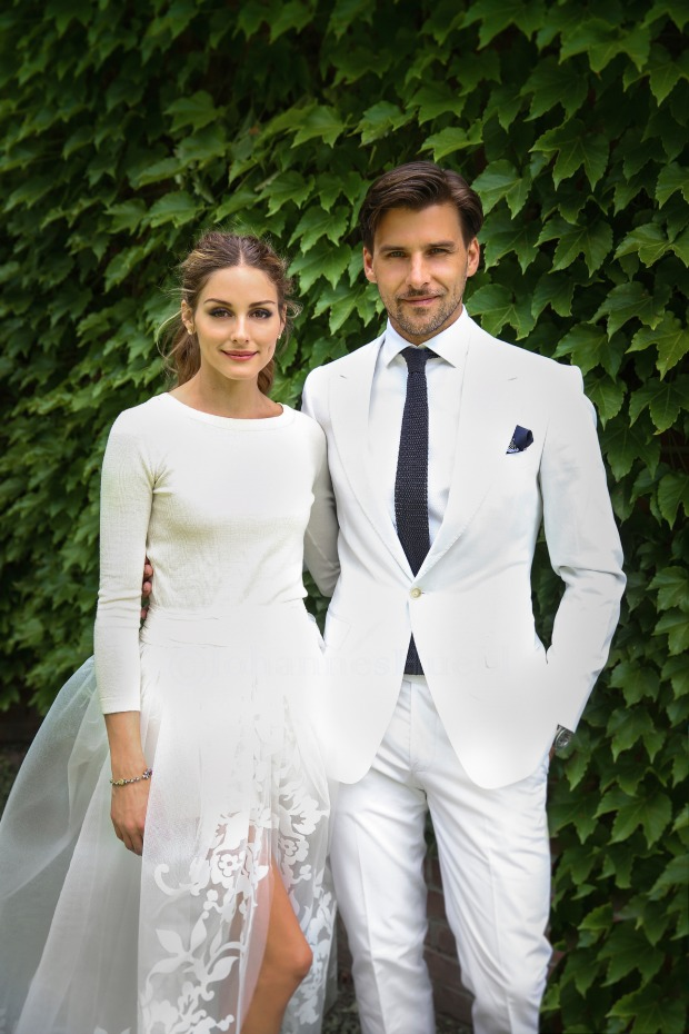 bridal separates, bridal two piece, Olivia Palermo, cashmere, long sleeve top and skirt, organza.