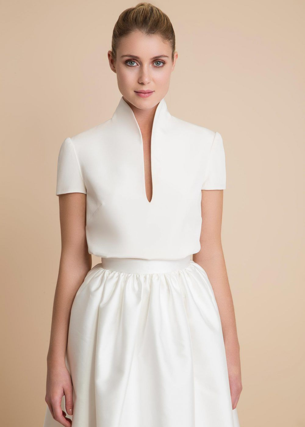 bridal separates, Delphine Manivet, bridal two piece, short skirt, high collar top