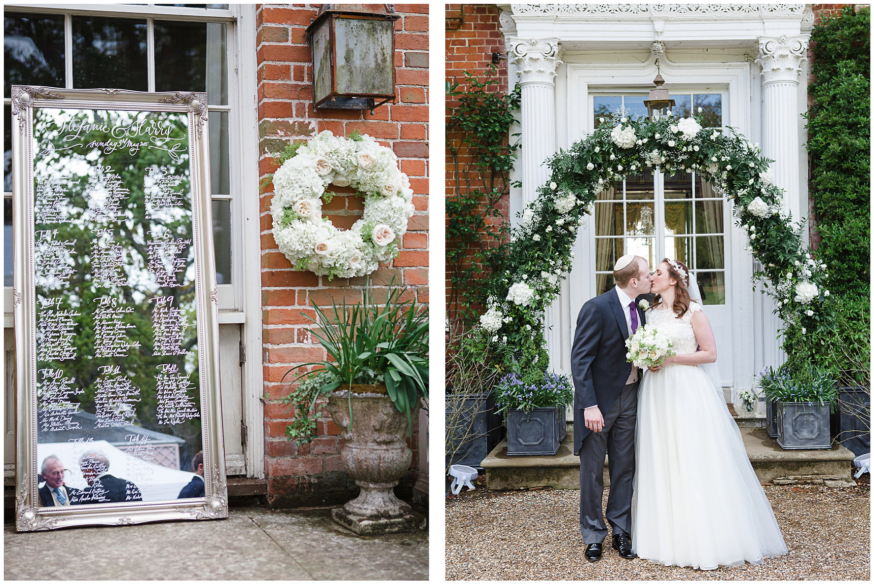 luxury wedding, berkshire, home wedding, table plan, mirror, calligraphy, floral details, floral arch, bridal couple, Lucy Davenport Photography