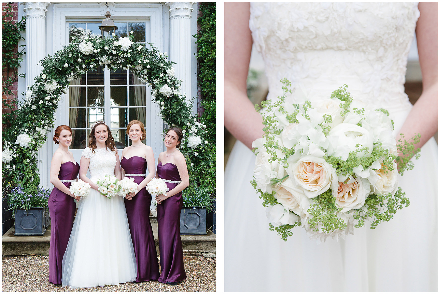 luxury wedding, berkshire, home wedding, bouquet, floral details, floral arch, bridal party, bridesmaids, Lucy Davenport Photography