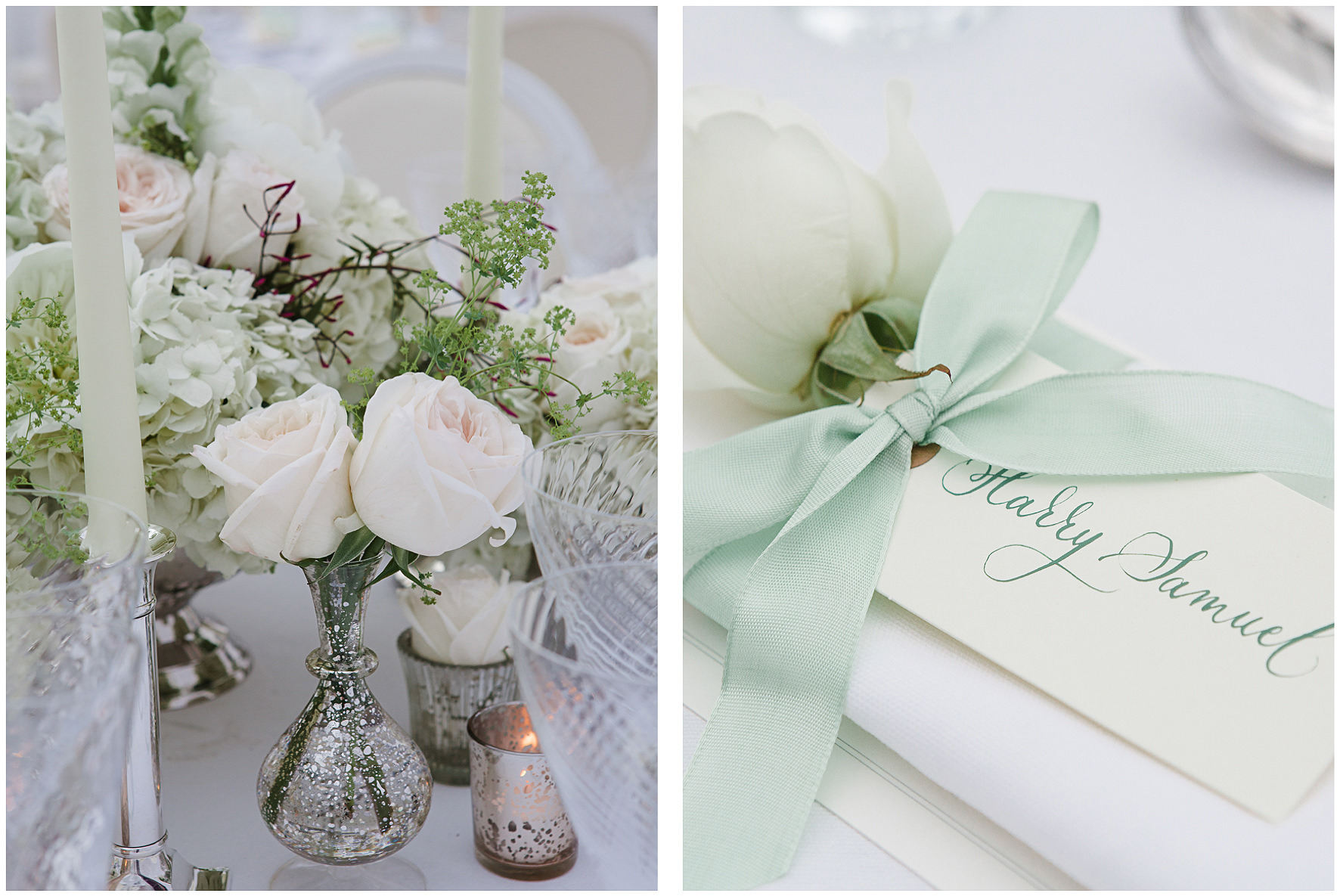 luxury wedding, berkshire, home wedding, tablescape, cream, green, roses, floral details, crockery, candles, Lucy Davenport Photography