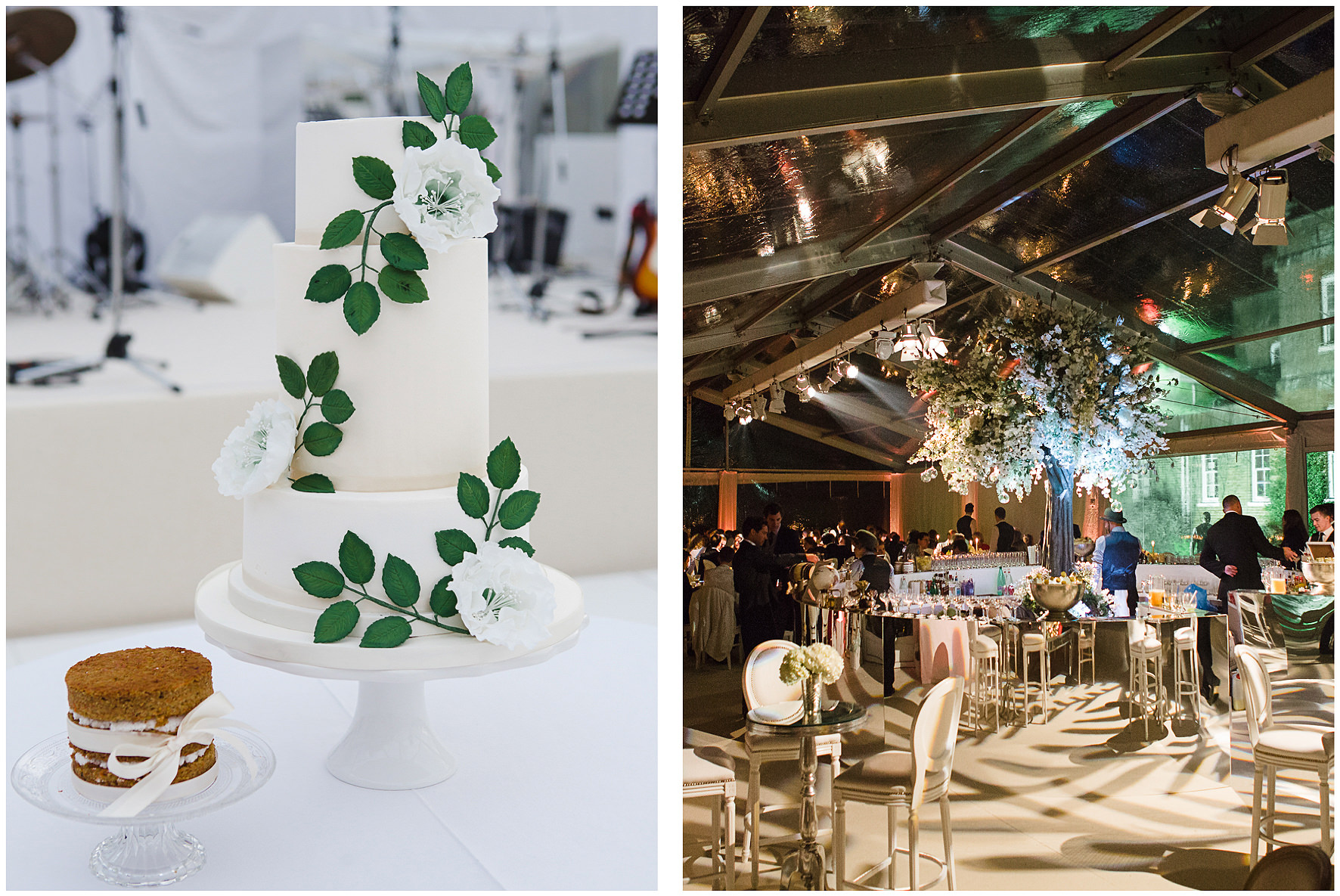 luxury wedding, berkshire, home wedding, wedding breakfast, marquee, clear marquee, wedding cake, Lucy Davenport Photography