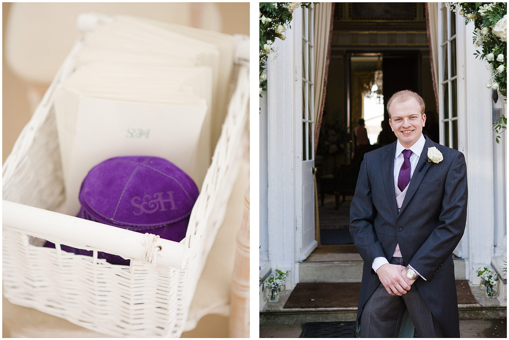 luxury wedding, berkshire, home wedding, groom, kippah, order of service, Lucy Davenport Photography