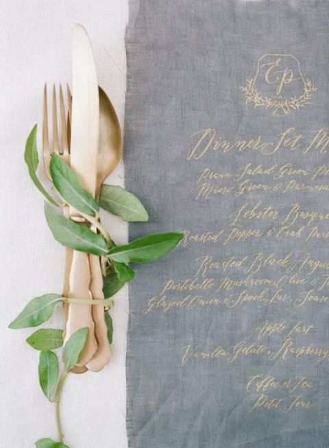 colour scheme, gold cutlery, metallics, wedding, tablescape, stationery.