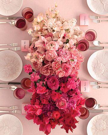 colour scheme, ombre, ombre tablescape, tablescape, pinks.