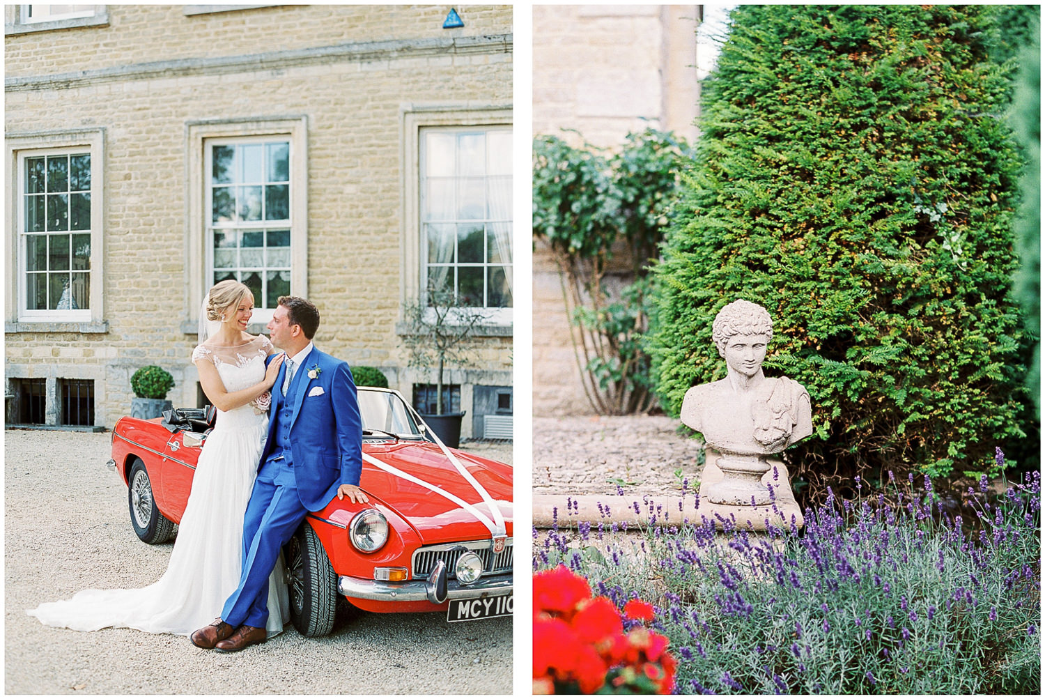 bride and groom, Newington House, red wedding car, MG wedding car