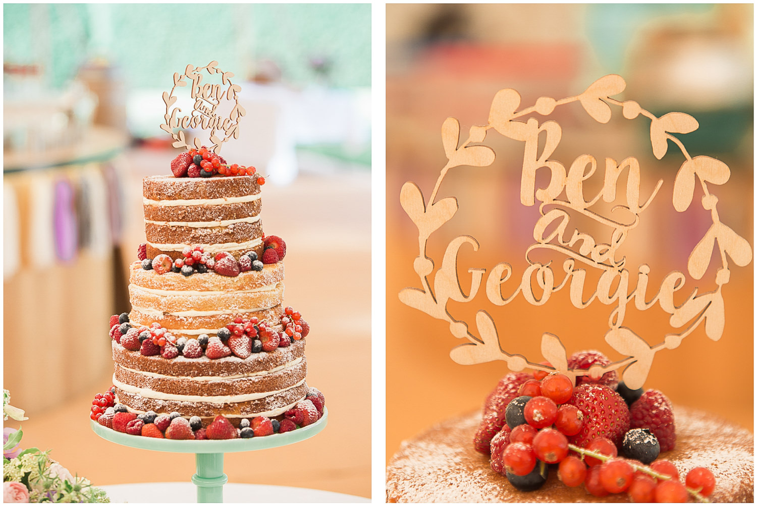 Naked wedding cake, wooden cake topper