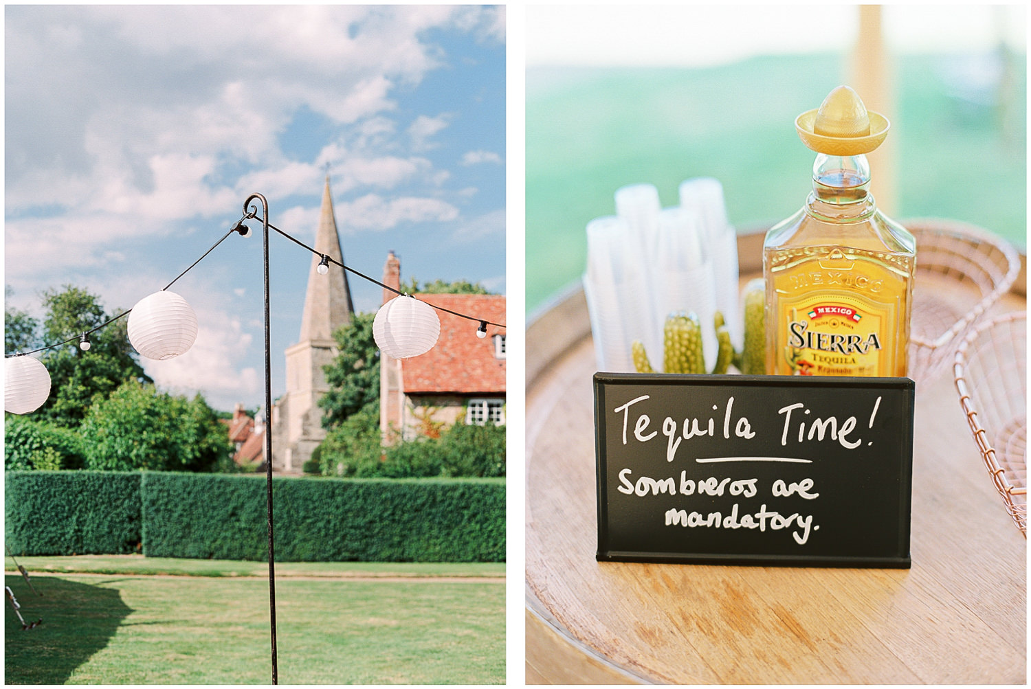 Tequila wedding shot, bunting