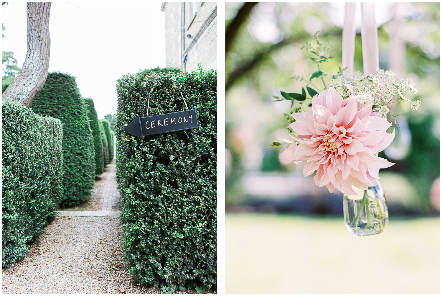 newington house, hanging florals, outdoor ceremony, green & gorgeous,