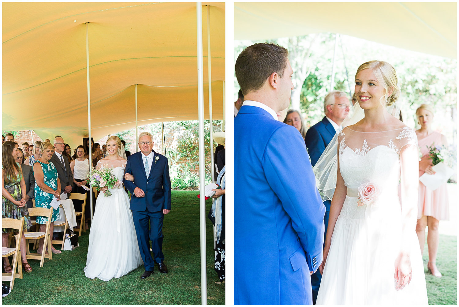 outdoor ceremony, Newington House, Bride walking down aisle