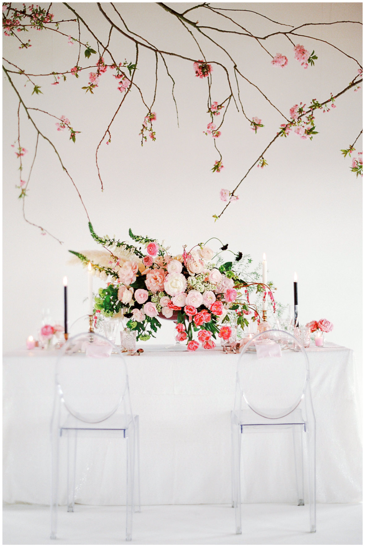 Lucy Davenport Photography, Loft Studios, Rebecca K Events, tablescape, soft pink, wedding breakfast, ghost chairs, suspended florals