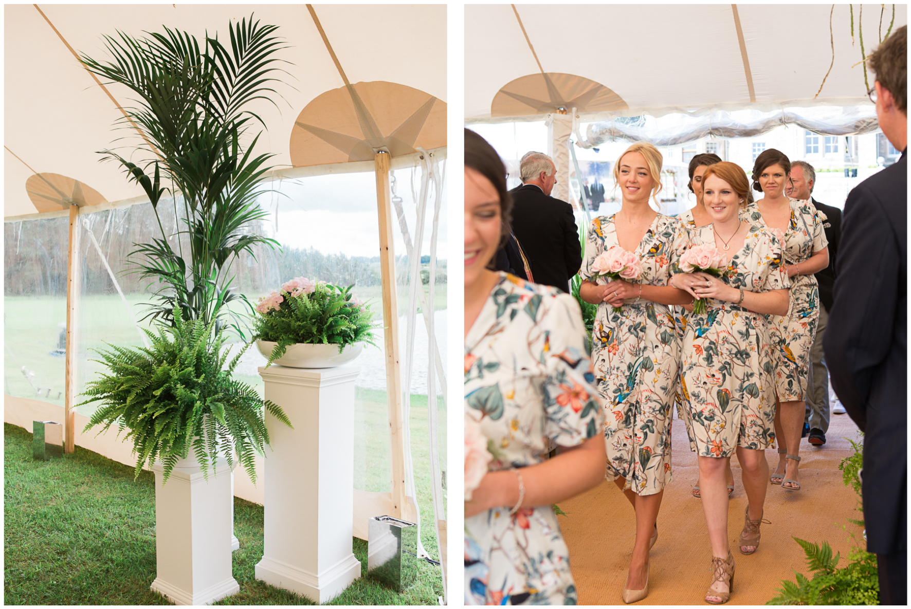 PapaKata sperry tent, ferns, bridesmaids