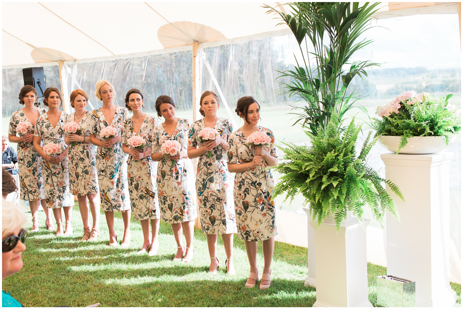 glamping wedding, Lucy Davenport Photography, home wedding, Sperry tent, PapaKata, bridesmaids, ferns, greenery