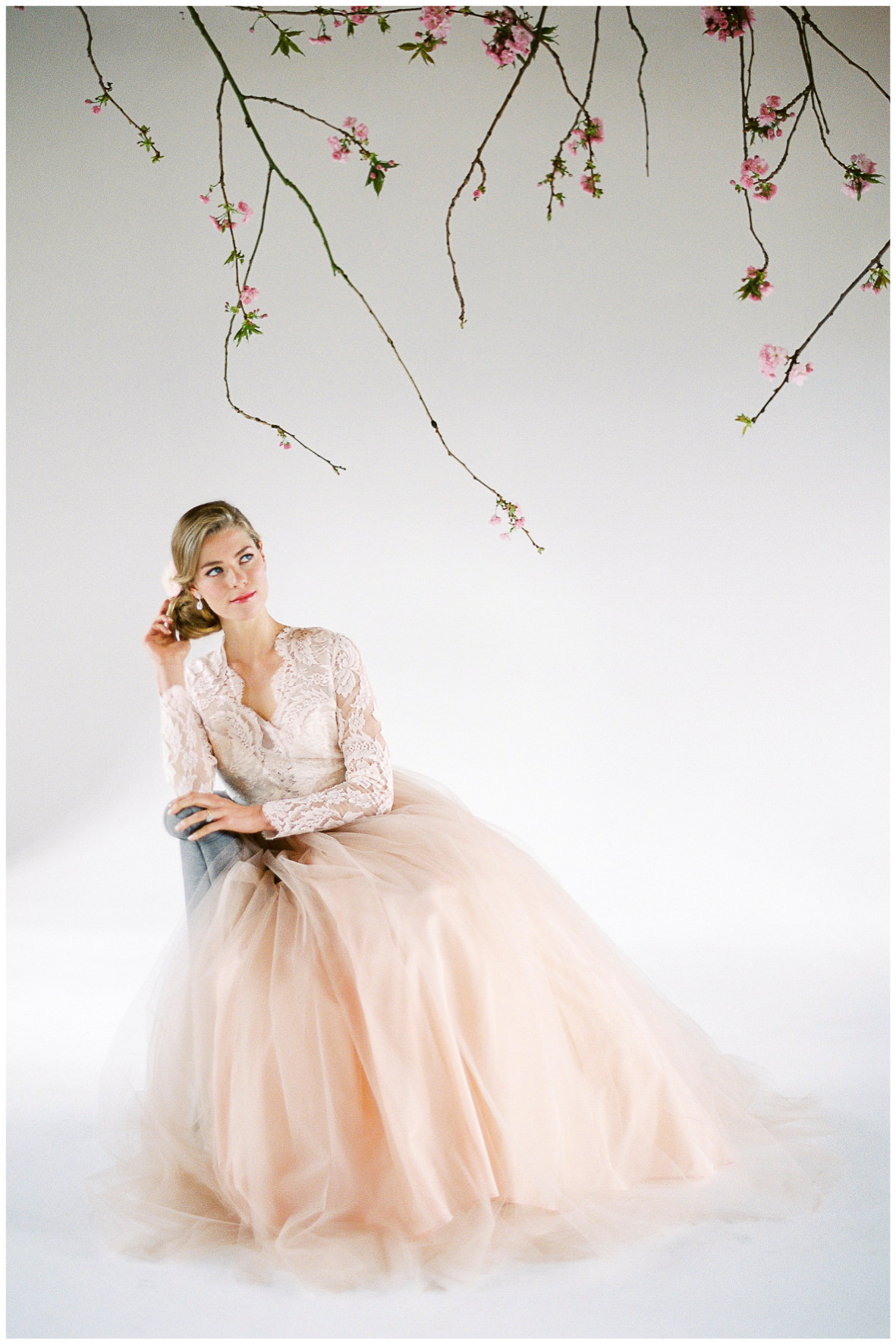 Lucy Davenport Photography, Loft Studios, Rebecca K Events, model, blush pink, suspended florals, soft pink wedding dress, lace, long sleeved wedding dress, Elizabeth Dye