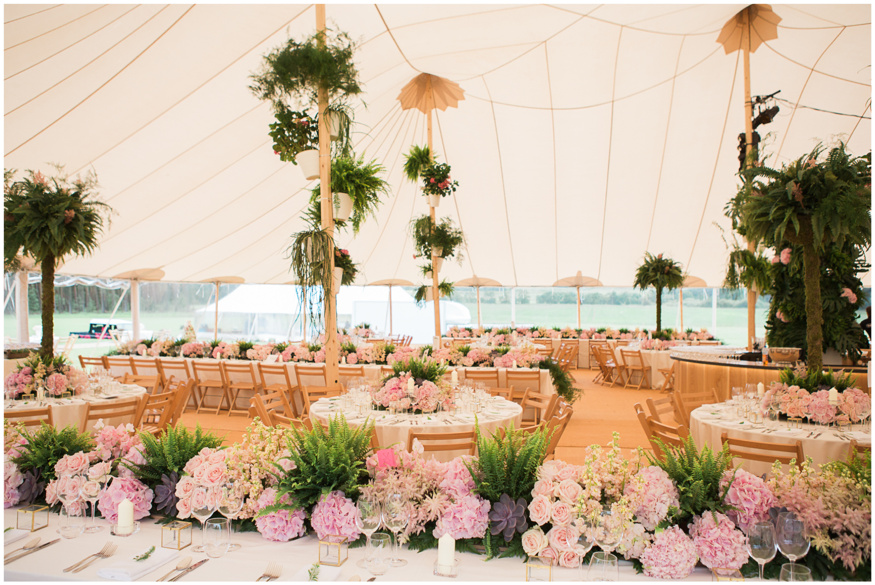 glamping wedding, Lucy Davenport Photography, home wedding, Sperry tent, PapaKata, ferns, greenery, pinks, florals,